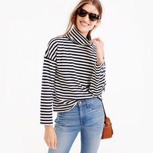 J. Crew Deck Striped Turtleneck Tee Shirt Size XXS